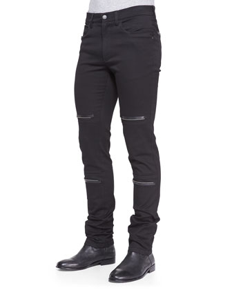 Zipper-Detail Stretch-Twill Pants, Black