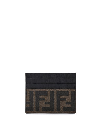 Credit Card Case Brown Fabric, Black