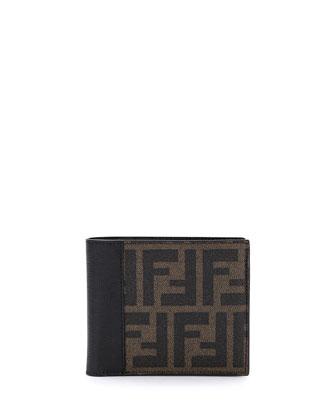 Coated Zucca Bi-Fold Wallet, Tobacco/Black