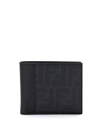 Coated Zucca Bi-Fold Wallet, Black