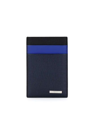 Two-Tone Money-Clip Credit Card Case, Black/Neon Blue