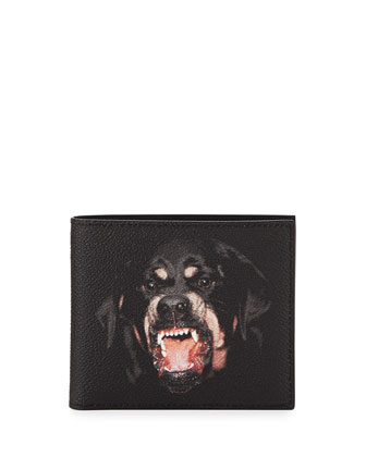 Rottweiler Nylon Bi-Fold Card Case, Black