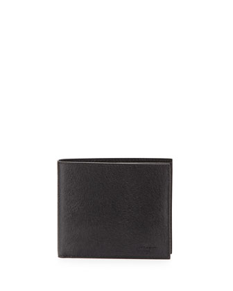 Ponyhair-Embossed Leather Wallet, Black