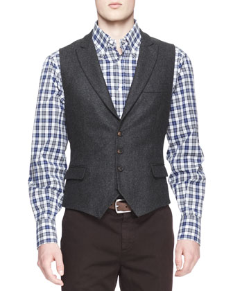 Single-Breasted Wool-Silk Jacket, Four-Button Waistcoat, Madras Check ...