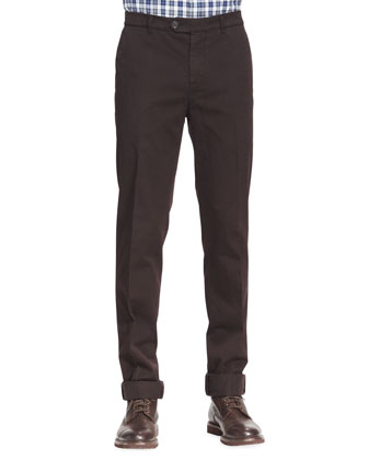 Cotton Flat-Front Pants, Ebony