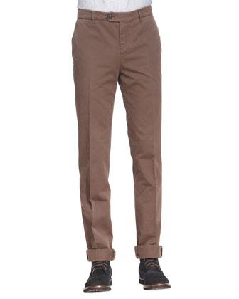 Cotton Flat-Front Pants, Tobacco