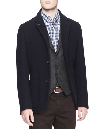 Single-Breasted Wool-Silk Jacket