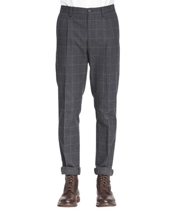 Single-Pleat Windowpane Pants