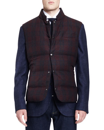 Plaid Down-Fill Vest, Flamed Peak-Lapel Jacket, Micro-Windowpane ...