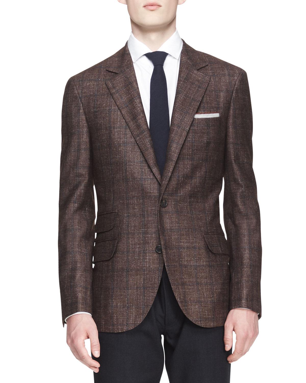 Mens Two Button Check Jacket   Brunello Cucinelli   Brown (50)