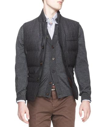 Buttoned Pinstripe Puffer Vest, Melange Knit Buttoned Cardigan, ...