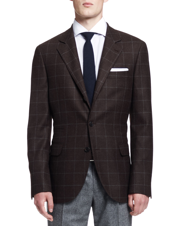 Mens Windowpane Two Button Jacket, Brown   Brunello Cucinelli   Brown (54)