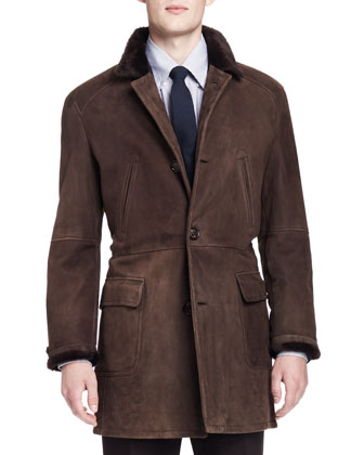 Shearling Fur-Lined Suede Jacket, Brown