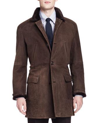 Shearling Fur-Lined Suede Jacket, Melange Cashmere Shaker-Knit Sweater, ...