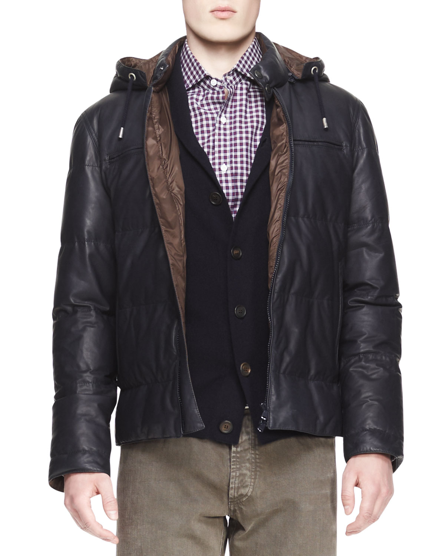 Mens Short Leather Puffer Jacket   Brunello Cucinelli   Ink (M/50)