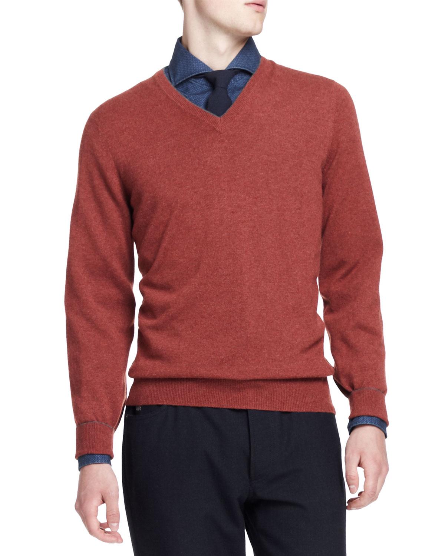 Mens 2 Ply Cashmere Sweater, Red/Orange   Brunello Cucinelli   Red/Orange (S)