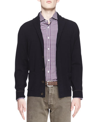 Buttoned Cashmere Shawl-Collar Cardigan