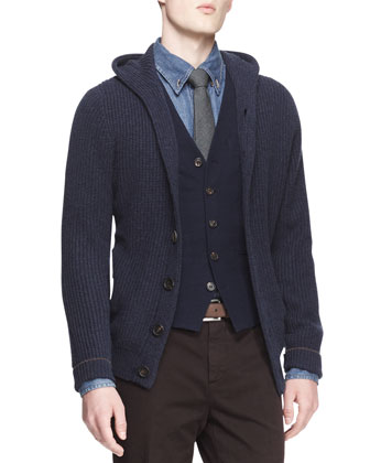 English-Ribbed Cashmere Hooded Cardigan, Wool/Silk 5-Button Waistcoat, ...