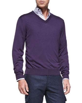 Fine-Gauge V-Neck Sweater, Eggplant