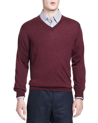 Wool/Cashmere V-Neck Sweater, Syrah