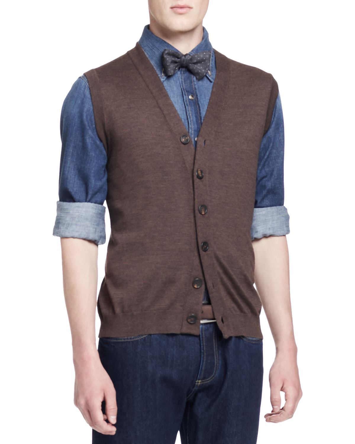 Mens Sleeveless Wool/Cashmere Cardigan, Cigar   Brunello Cucinelli   Cigar