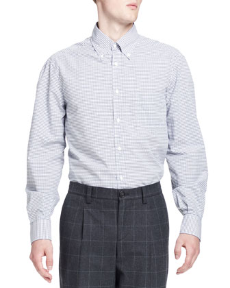 Check Button-Down Shirt, Blue/Gray