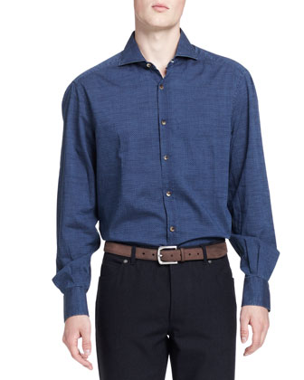 Washed Denim Dot-Print Shirt, Blue