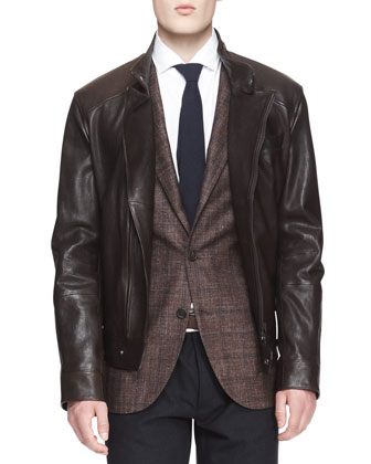 Leather Asymmetric-Zip Moto Jacket, Two-Button Check Jacket & Five-Pocket ...