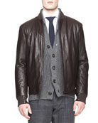 Leather Thermore Bomber Jacket