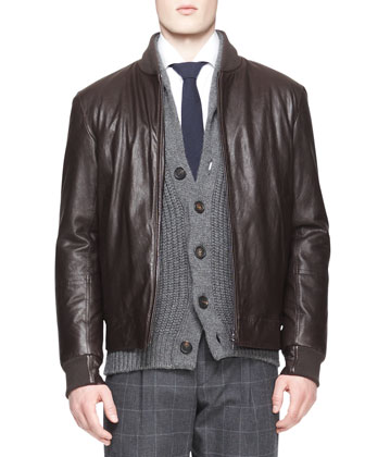 Leather Thermore Bomber Jacket, Button-Down Shirt & Single-Pleat Windowpane ...