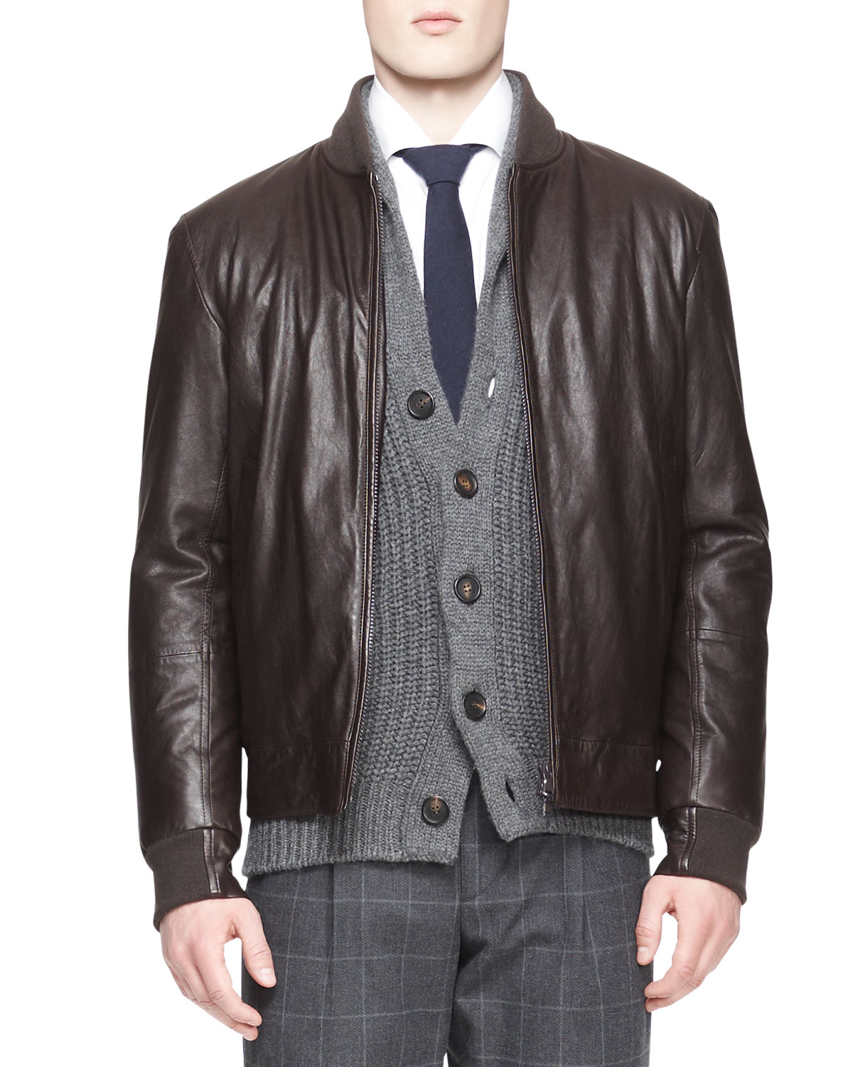 Mens Leather Thermore Bomber Jacket   Brunello Cucinelli   Brown (M/50)