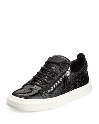 Croc-Embossed Patent Low-Top Sneaker, Black