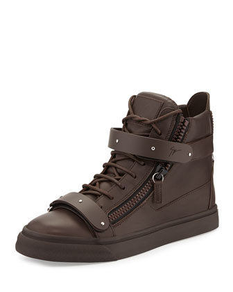 Men's Double-Strap High-Top Sneaker, Brown