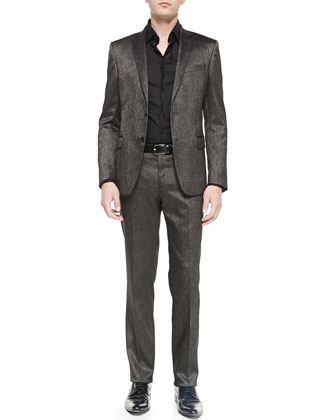 Metallic Two-Piece Suit, Silver