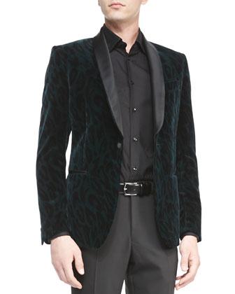 Velvet Animal-Print Jacket