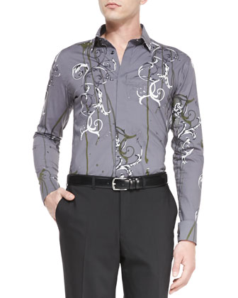 Long-Sleeve Printed Shirt, Gray