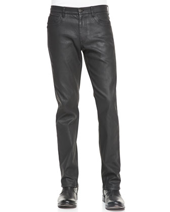 Black Coated 5-Pocket Denim Jeans