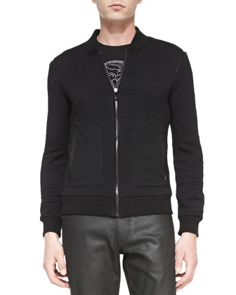 Quilted Knit Zip-Front Jacket, Black