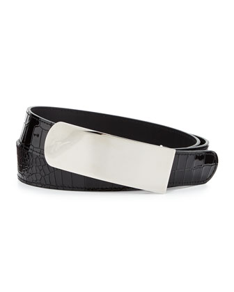 Men's Croc-Embossed Plaque Belt, Black/Silver