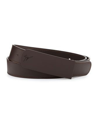 Men's Leather Rubberized-Plaque Belt, Brown