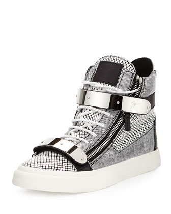 Men's Printed Zip & Buckle High-Top Sneaker, Retriever Bianco