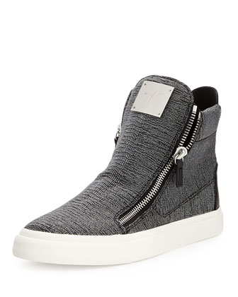Men's Sparkle Snake-Print Zip High-Top, Silver