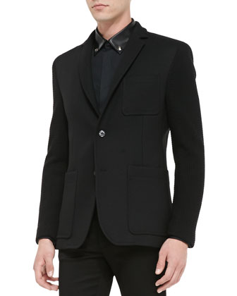 Two-Button Jacket with Knit Sleeves