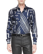Long-Sleeve Dragonfly & Chain-Print Shirt