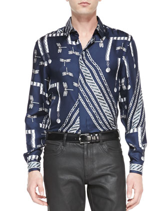 Long-Sleeve Dragonfly & Chain-Print Shirt