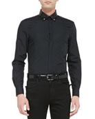 Long-Sleeve Leather Collar Shirt