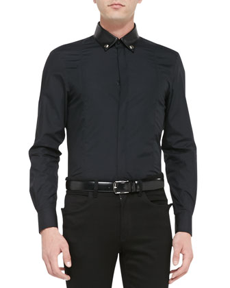 Long-Sleeve Leather Collar Shirt