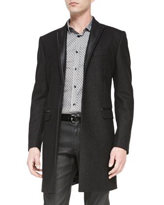 Top Coat with Leather Trim, Geometric-Print Shirt & Black Coated 5-Pocket ...