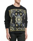 Silk Paneled Sweatshirt, Black/Gold