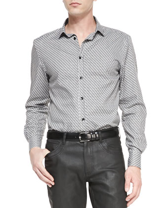 Geometric-Print Shirt, Black/White